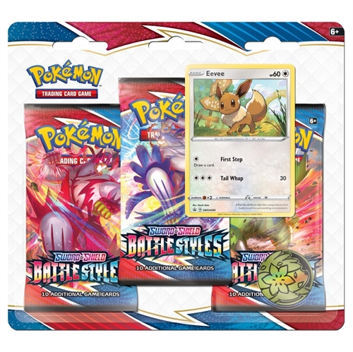 Pokemon Sword & Shield - Battle Styles - 3-pack Booster Pakke - Eevee
